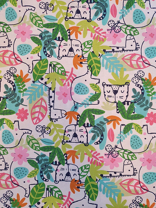 Animals In Jungle Print On White Cotton Fabric