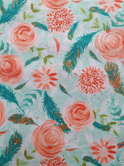 Flowers And Feathers On Cotton Fabric