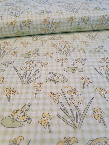 Frogs Printed Onto Green Check Cotton Fabric