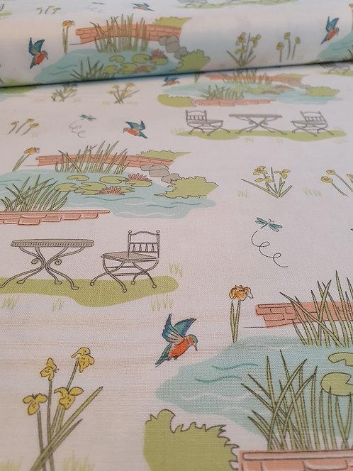 Garden Scene Printed Onto White Cotton Fabric