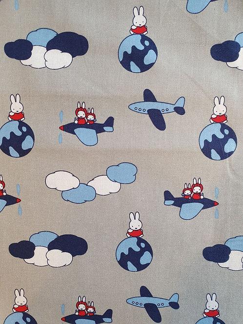 Miffy Aeroplane Print On Grey Cotton Fabric