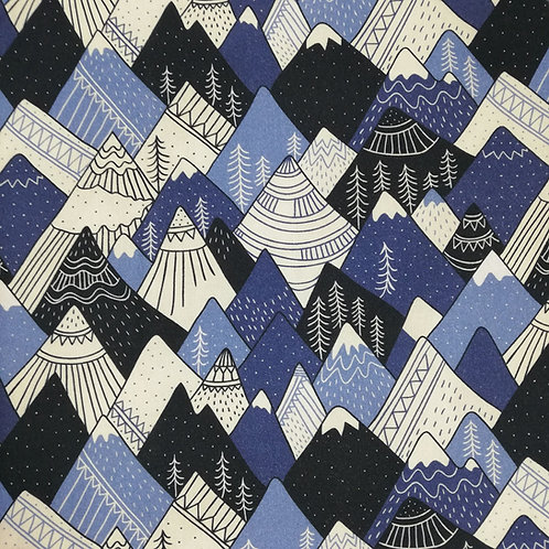 Drawings Of Snowy Mountains Printed Onto Cotton Fabric