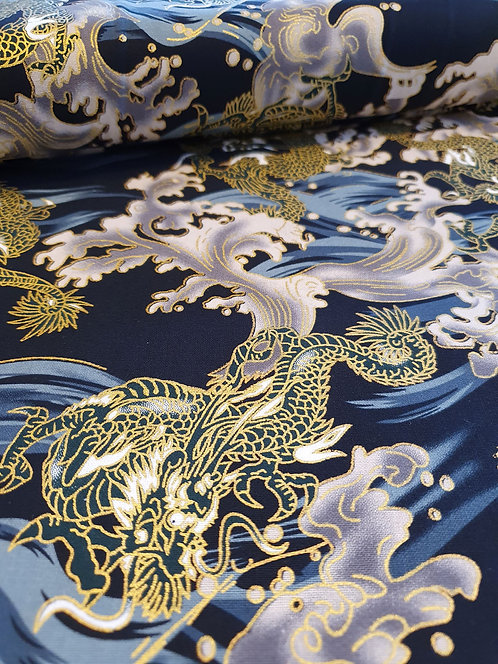 Japanese Dragons On Grey Cotton Fabric