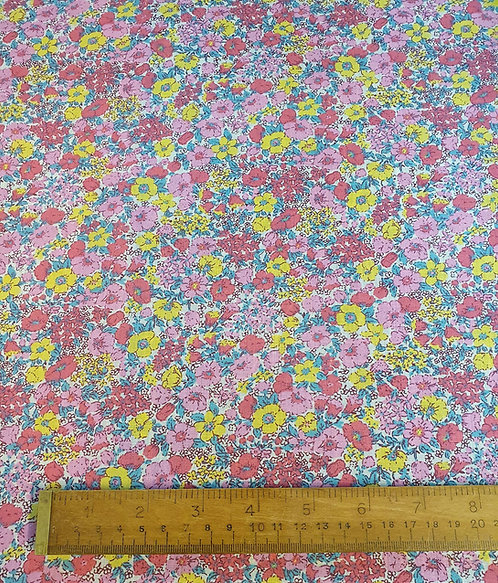 Polycotton Fabric With A Vintage Floral Print