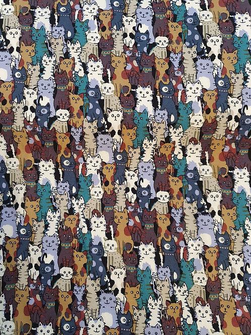 Cat Print Cotton Fabric
