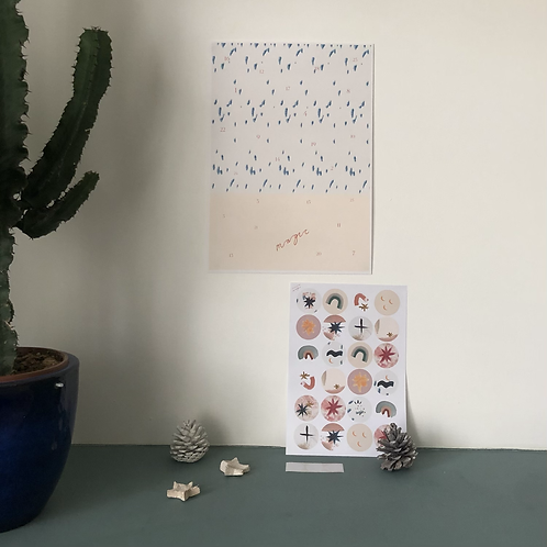 DIY Magic Advent Poster and Sticker set - A3
