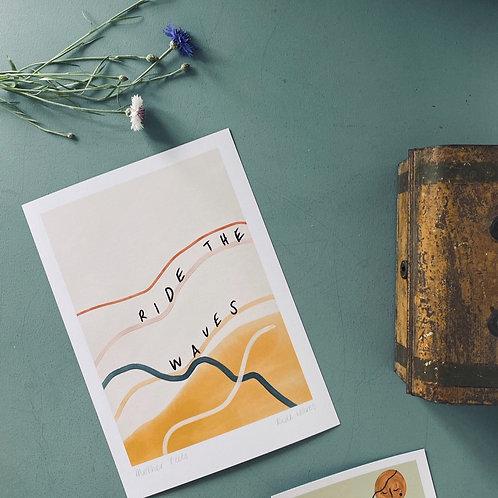 'Ride Waves' A4 Art Print