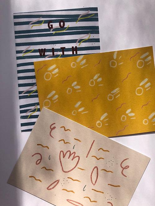 Art card set x 3 - Flow, Sunshine and Playful