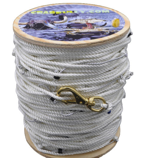 """1200' 1//4"""" 3 Strand Nylon Crabbing Trotline made with 3//16/"""" snoods every 6'"""
