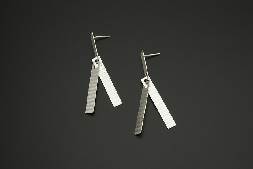 Crimped Rectangle Strand Earrings