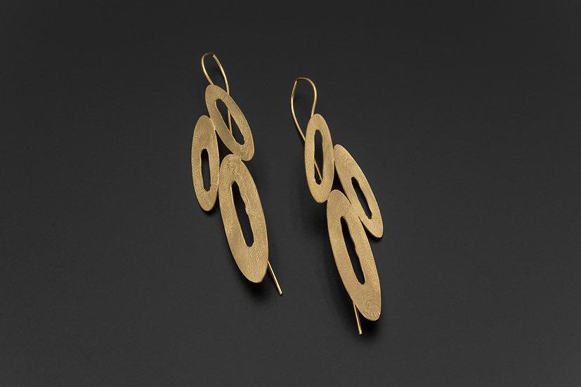 Abstract Triple Open Oval Earrings