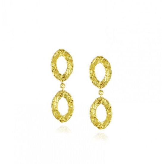 Double Oval Stud Drop Earrings