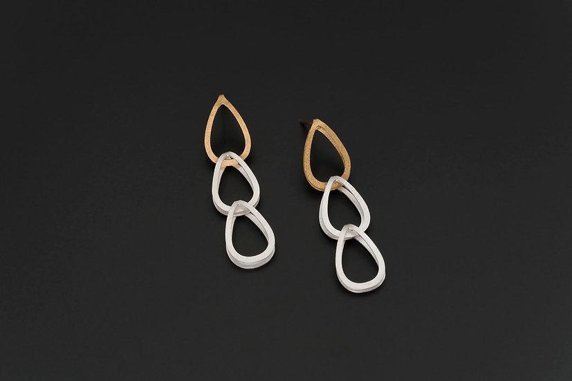 Two Tone Triple Open Teardrop Earrings