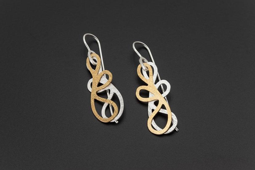 Two Tone Double Swirl Drop Earrings