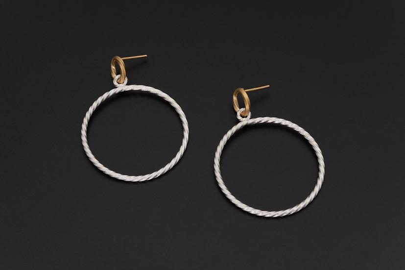 Two Tone Twist Stud Hoop Earrings