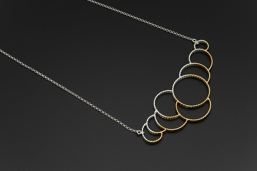 Two Tone Crimped Multi-Circle Necklace