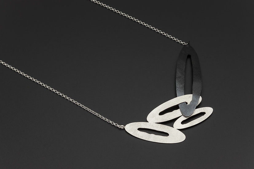 Two Tone Abstract Open Oval Necklace