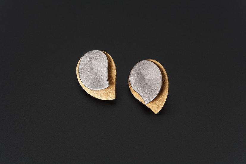 Two Tone Double Layer Tear Drop Stud Earrings
