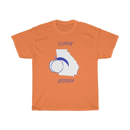 Flippin' Georgia Blue State Muted Peach Unisex Heavy Cotton Tee