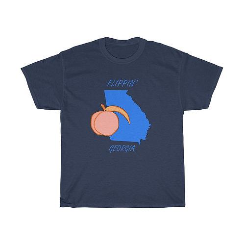 Flippin' Georgia Blue State Peachy Peach Unisex Heavy Cotton Tee