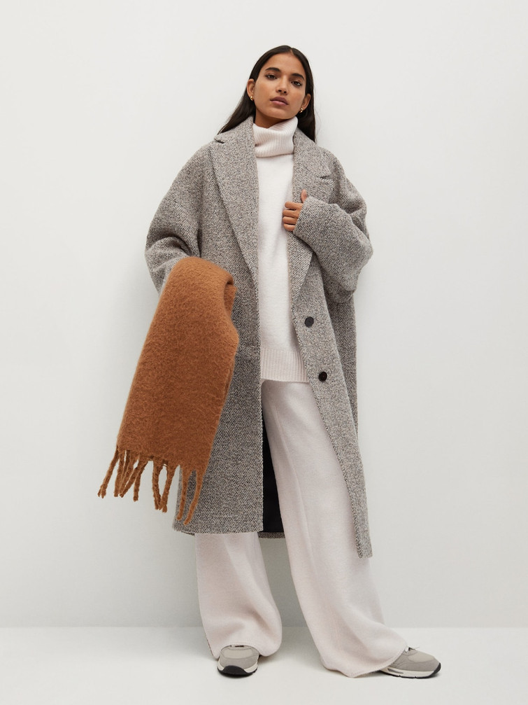 Manteau laine texturée