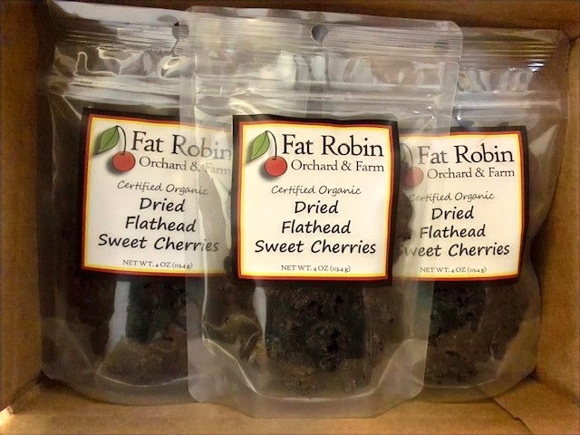 sealed clear bags of dried cherries