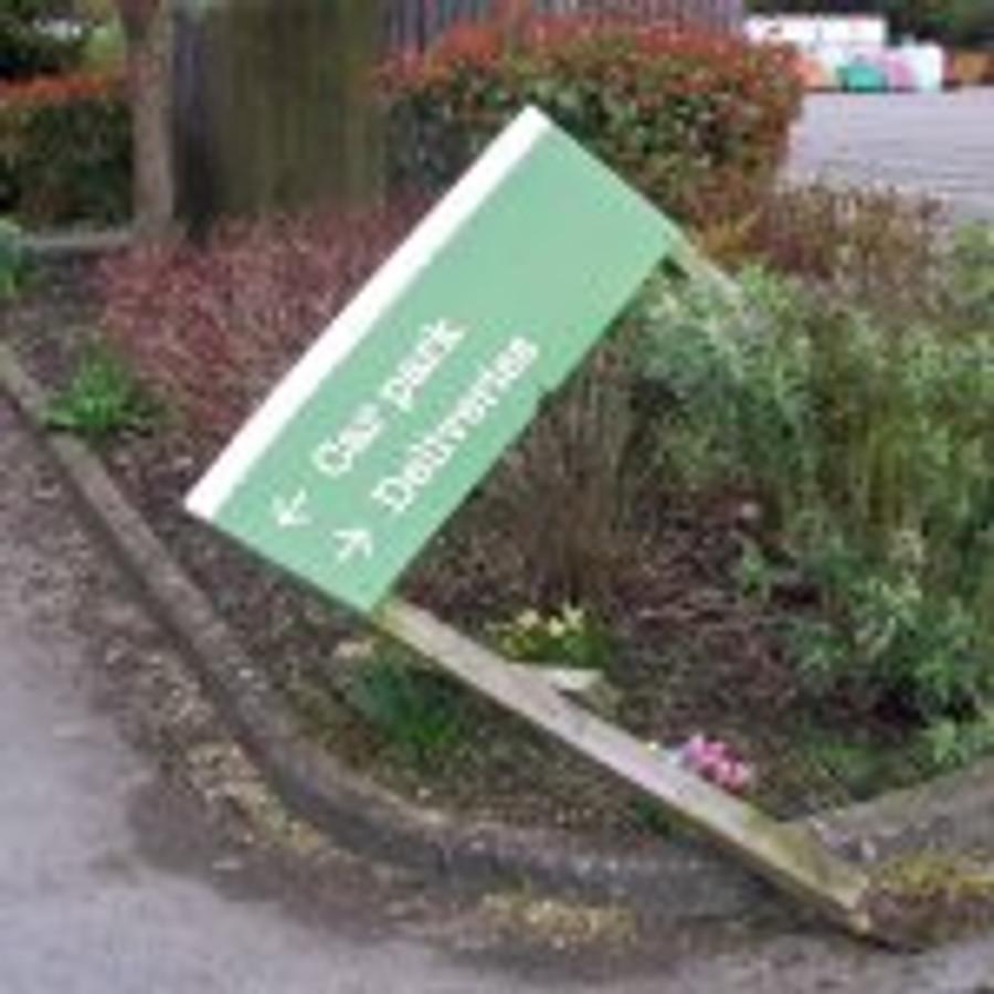 GC sign blown down