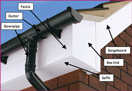 white fascia, soffit, box end and bargeboard/ black gutter and downpipe