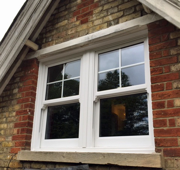 Gable end window set vertical sliders Admiral Windows Oxford