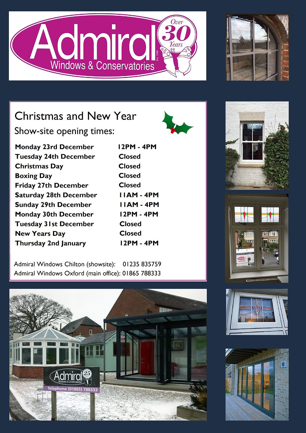 Showsite Christmas 2019 opening times 1200
