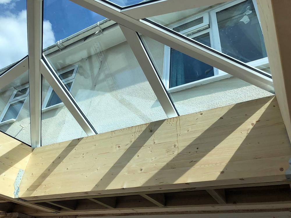 DURING lantern roof showing Glulam beam construction_Admiral Windows Oxford