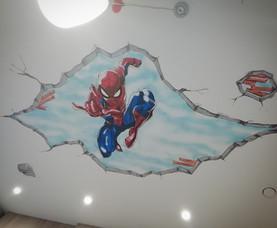 Spiderman ceiling mural