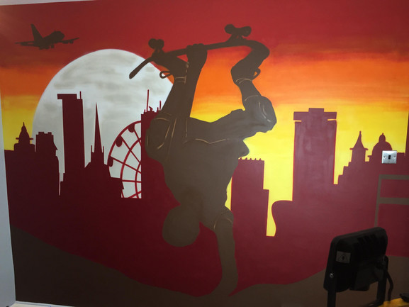 Skateboarder bedroom mural