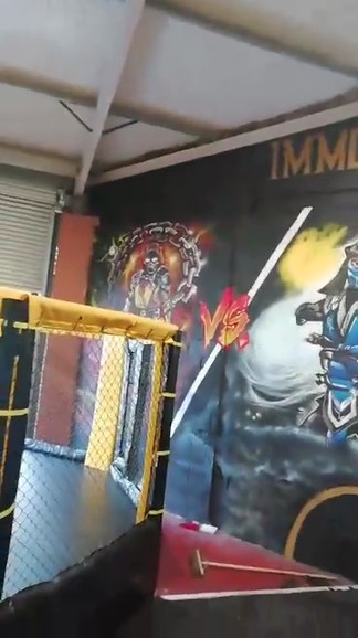 Mortal combat themed gym mural