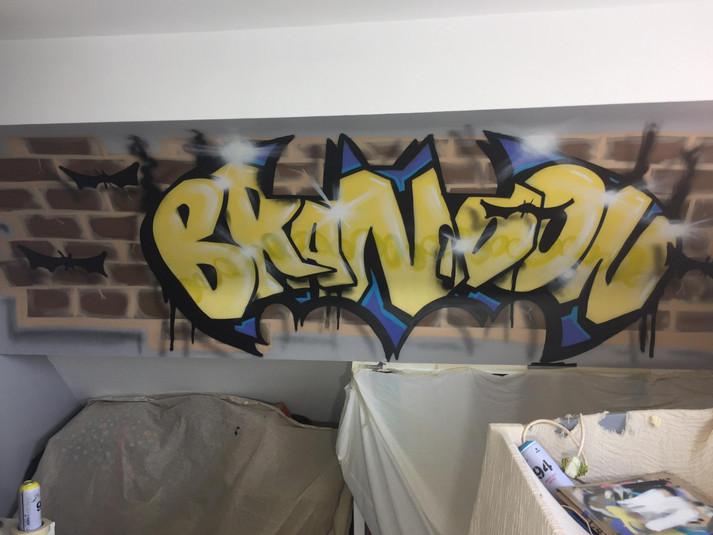 Batman themed bedroom wall
