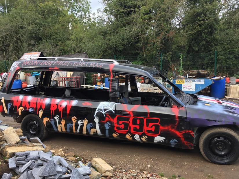 Spray painted style hearse. Original Pai