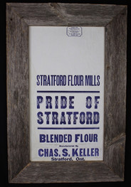antique Stratford shipping bag framed with circa 1870s barnboard
