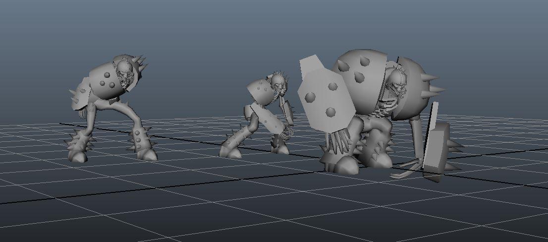 Three Character Sizes
