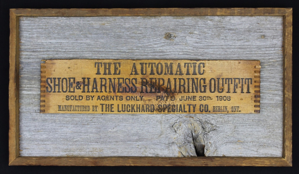 antique shoe repair outfit box mounted on circa 1870s barnboard