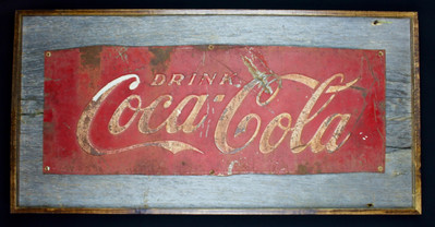 vintage Coke sign mounted on extra wide circa 1870s barnboard