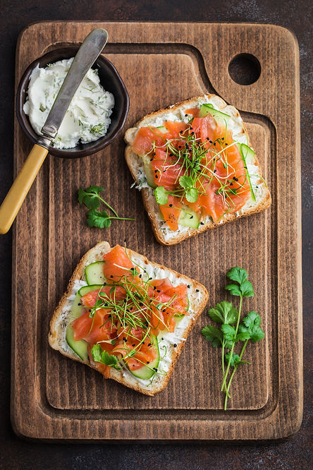 toasts with salmon, cucumber and cream c