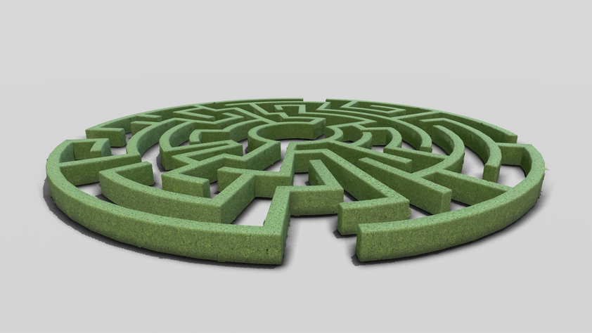 Hedge maze, using textures from the hedges