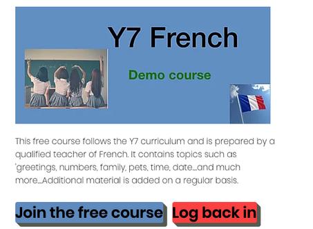 Brand new free French Y7 Course