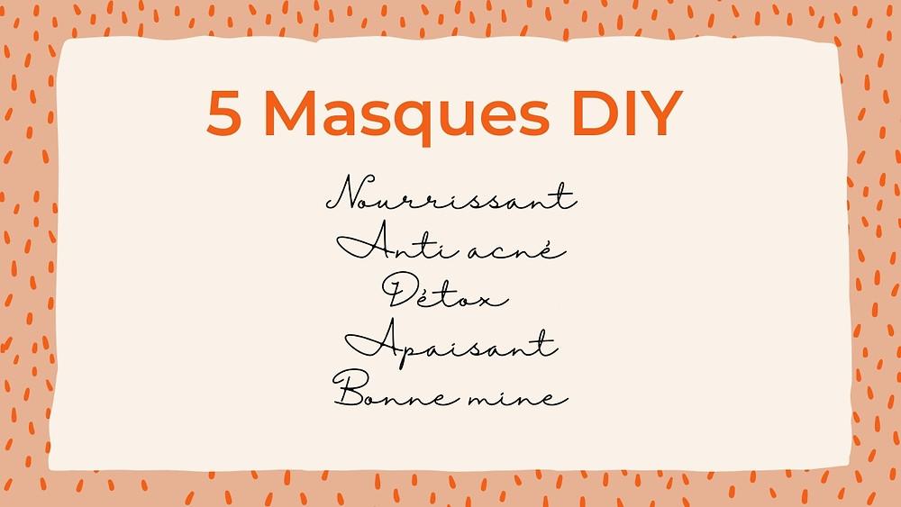 masques do it yourself skincare visage hydratant nourrissant détox anti acné apaisant bonne mine fait maison beauté naturelle
