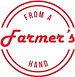 """Logo in red reads """"From a Farmer's Hand"""""""