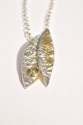 Double Leaf Pendent with Peridot