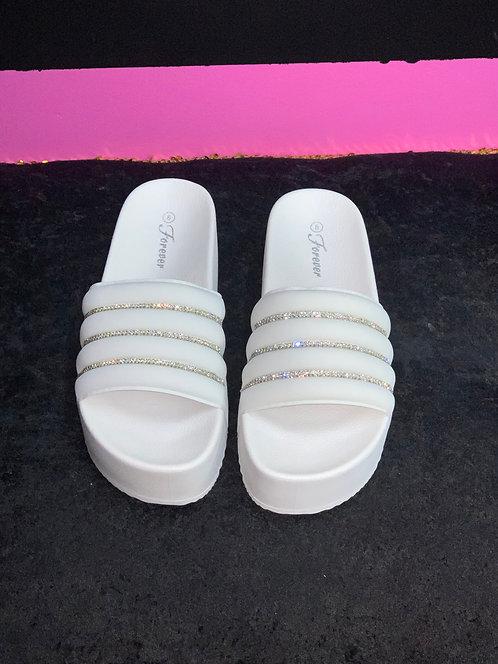 """CRYSTAL"" White Platform Sandal"