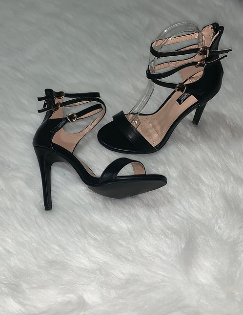 """Bliss"" Black Strappy Heel"