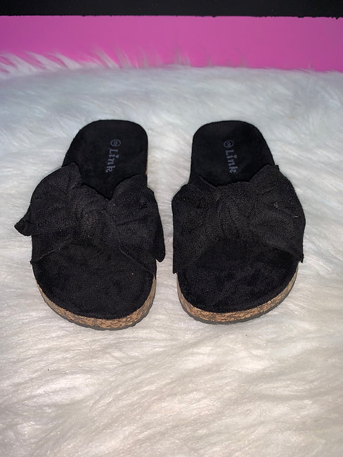 """LOVE"" Kids Black Bow Sandal"