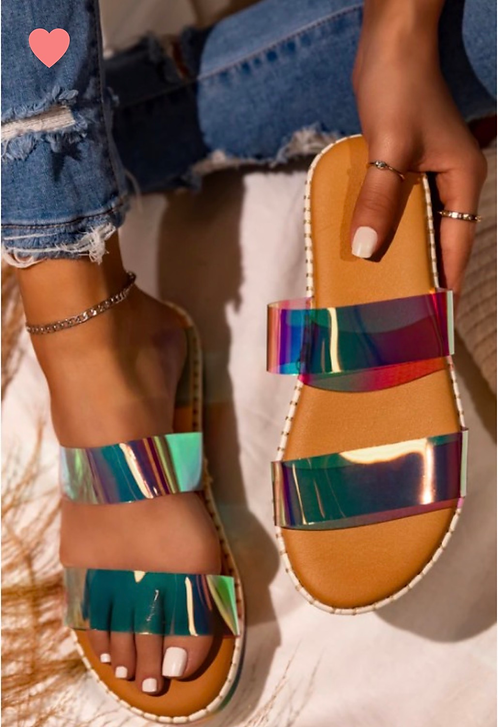 """GIRLY"" Holographic Stappy Sandal"